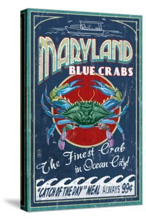 Blue Crabs - Ocean City, Maryland-Lantern Press-Stretched Canvas Print