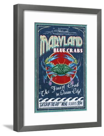 Blue Crabs - Ocean City, Maryland-Lantern Press-Framed Art Print