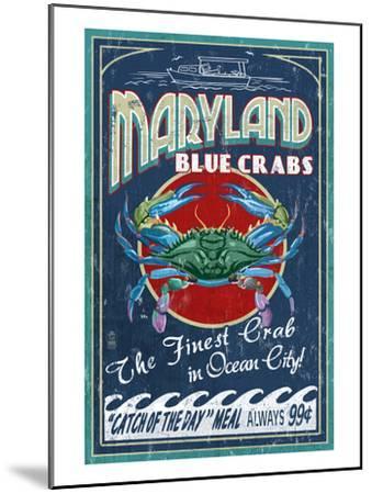 Blue Crabs - Ocean City, Maryland-Lantern Press-Mounted Art Print