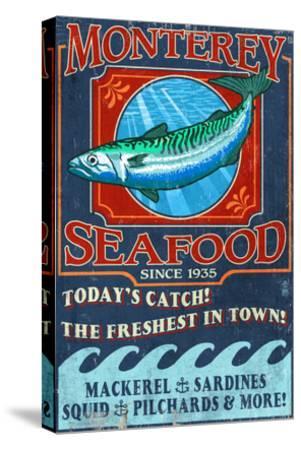 Monterey, California - Seafood-Lantern Press-Stretched Canvas Print