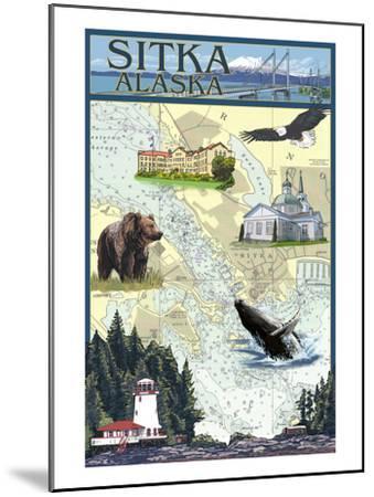 Sitka, Alaska - Nautical Chart-Lantern Press-Mounted Art Print