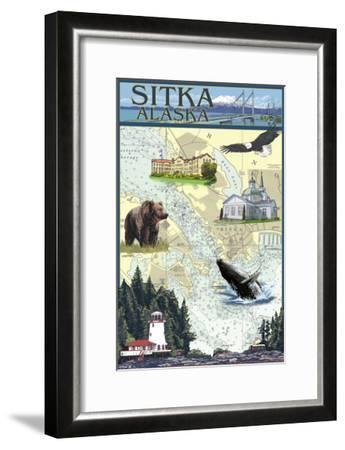 Sitka, Alaska - Nautical Chart-Lantern Press-Framed Art Print