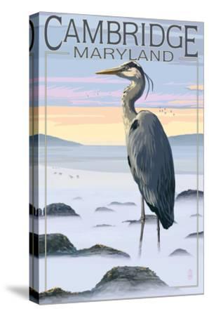 Cambridge, Maryland - Blue Heron and Fog-Lantern Press-Stretched Canvas Print
