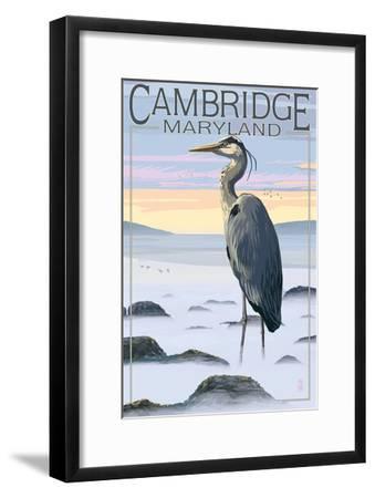 Cambridge, Maryland - Blue Heron and Fog-Lantern Press-Framed Art Print