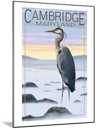Cambridge, Maryland - Blue Heron and Fog-Lantern Press-Mounted Art Print