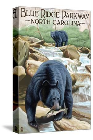 Blue Ridge Parkway, North Carolina - Black Bears Fishing-Lantern Press-Stretched Canvas Print