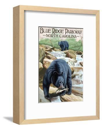 Blue Ridge Parkway, North Carolina - Black Bears Fishing-Lantern Press-Framed Art Print