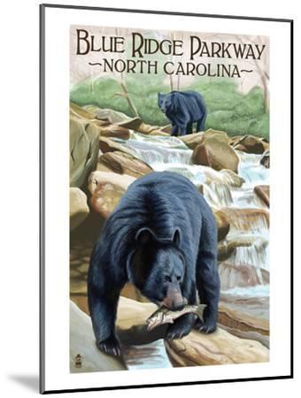Blue Ridge Parkway, North Carolina - Black Bears Fishing-Lantern Press-Mounted Art Print