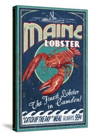 Camden, Maine - Lobster-Lantern Press-Stretched Canvas Print