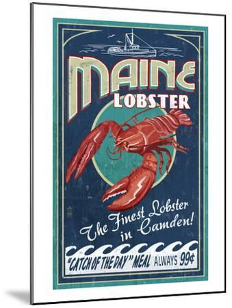 Camden, Maine - Lobster-Lantern Press-Mounted Art Print