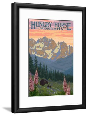 Hungry Horse, Montana - Bear Family and Spring Flowers-Lantern Press-Framed Art Print