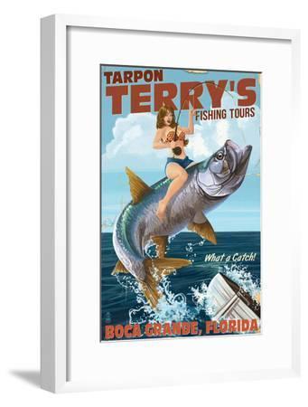 Boca Grande, Florida - Pinup Girl Tarpon Fishing-Lantern Press-Framed Art Print