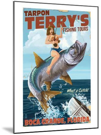 Boca Grande, Florida - Pinup Girl Tarpon Fishing-Lantern Press-Mounted Art Print