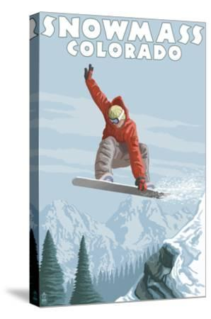 Snowmass, Colorado - Snowboarder Jumping-Lantern Press-Stretched Canvas Print