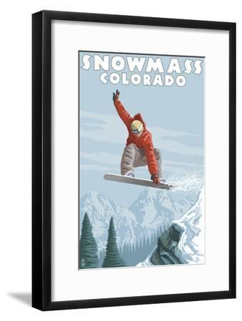Snowmass, Colorado - Snowboarder Jumping-Lantern Press-Framed Art Print