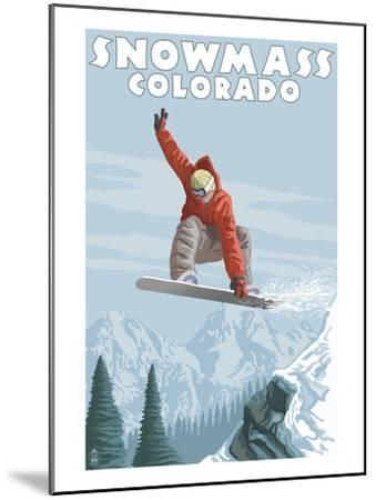 Snowmass, Colorado - Snowboarder Jumping-Lantern Press-Mounted Art Print
