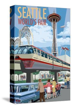 Space Needle Opening Day Scene - Seattle, WA-Lantern Press-Stretched Canvas Print
