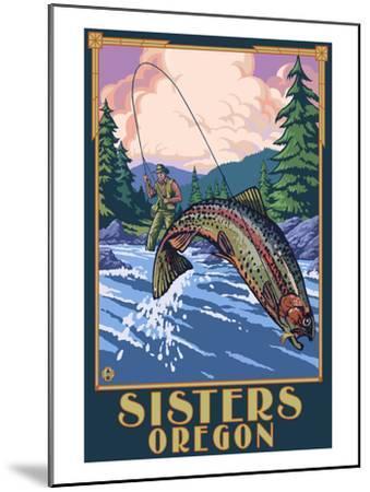 Sisters, Oregon - Fly Fisherman-Lantern Press-Mounted Art Print