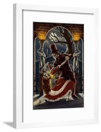 Skeletons Dancing in Graveyard-Lantern Press-Framed Art Print