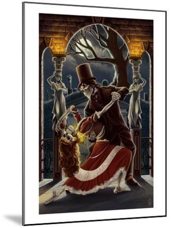 Skeletons Dancing in Graveyard-Lantern Press-Mounted Art Print