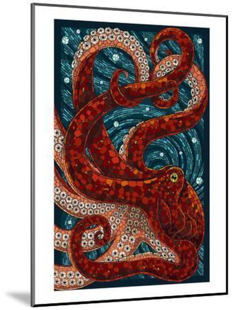 Octopus - Paper Mosaic-Lantern Press-Mounted Art Print