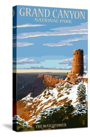 Grand Canyon National Park - Watchtower and Snow-Lantern Press-Stretched Canvas Print