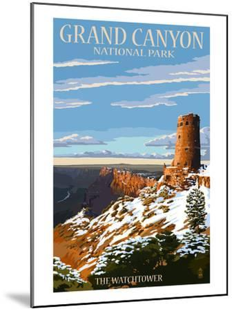 Grand Canyon National Park - Watchtower and Snow-Lantern Press-Mounted Art Print