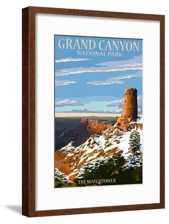 Grand Canyon National Park - Watchtower and Snow-Lantern Press-Framed Art Print