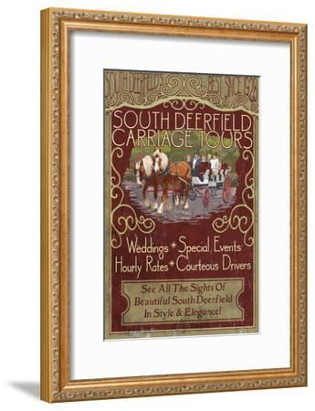 South Deerfield, Massachusetts - Carriage Tours-Lantern Press-Framed Art Print