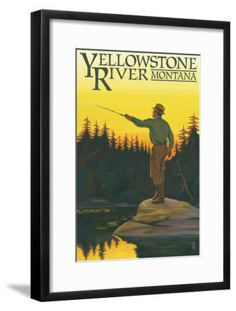 Yellowstone River, Montana - Fly Fishing Scene-Lantern Press-Framed Art Print