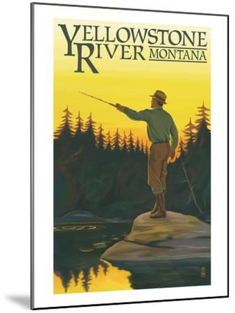 Yellowstone River, Montana - Fly Fishing Scene-Lantern Press-Mounted Art Print