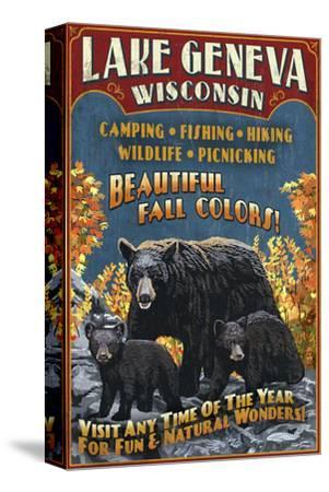 Lake Geneva, Wisconsin - Black Bears-Lantern Press-Stretched Canvas Print