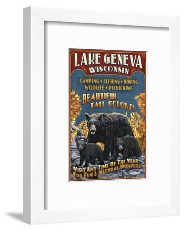 Lake Geneva, Wisconsin - Black Bears-Lantern Press-Framed Art Print