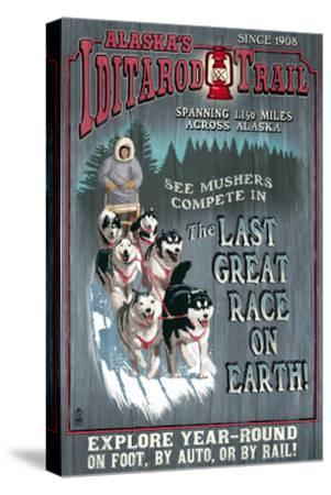 Iditarod Trail - Alaska-Lantern Press-Stretched Canvas Print