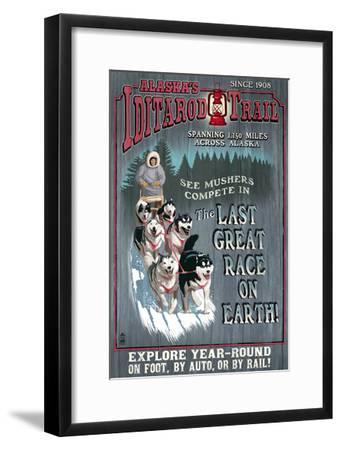 Iditarod Trail - Alaska-Lantern Press-Framed Art Print