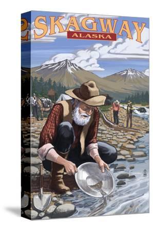 Gold Miners - Skagway, Alaska-Lantern Press-Stretched Canvas Print