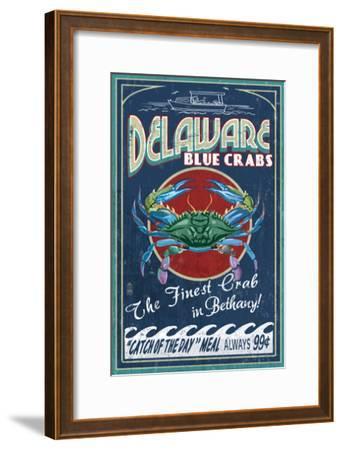 Bethany, Delaware Blue Crabs-Lantern Press-Framed Art Print