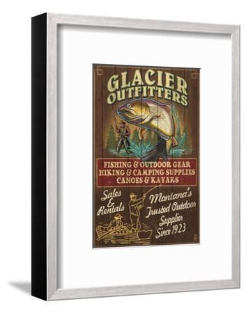 Glacier National Park - Trout Outfitters-Lantern Press-Framed Art Print