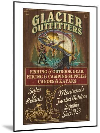 Glacier National Park - Trout Outfitters-Lantern Press-Mounted Art Print