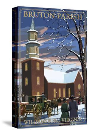 Williamsburg, Virginia - Bruton Parish in Snow-Lantern Press-Stretched Canvas Print
