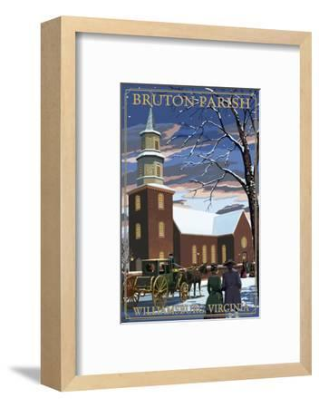 Williamsburg, Virginia - Bruton Parish in Snow-Lantern Press-Framed Art Print