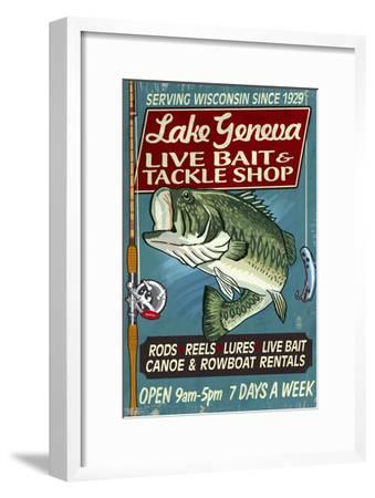 Lake Geneva, Wisconsin - Tackle Shop Bass-Lantern Press-Framed Art Print