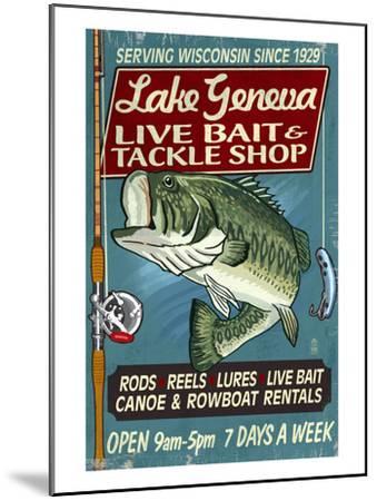 Lake Geneva, Wisconsin - Tackle Shop Bass-Lantern Press-Mounted Art Print