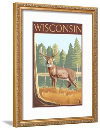 White-Tailed Deer - Wisconsin-Lantern Press-Framed Art Print