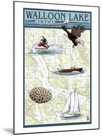 Walloon Lake, Michigan - Nautical Chart-Lantern Press-Mounted Art Print