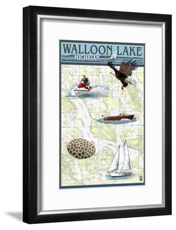 Walloon Lake, Michigan - Nautical Chart-Lantern Press-Framed Art Print