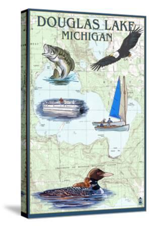 Douglas Lake, Michigan - Nautical Chart-Lantern Press-Stretched Canvas Print