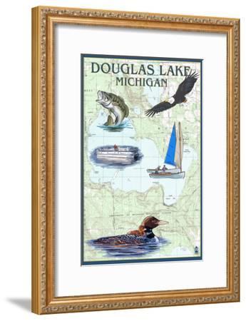 Douglas Lake, Michigan - Nautical Chart-Lantern Press-Framed Art Print