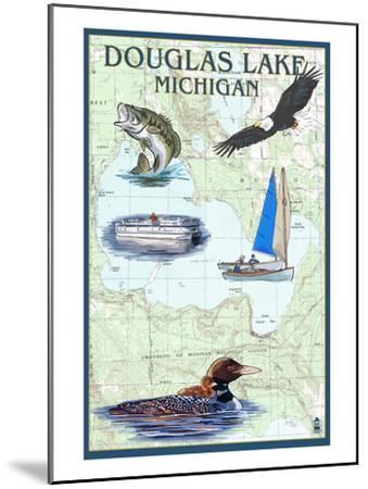 Douglas Lake, Michigan - Nautical Chart-Lantern Press-Mounted Art Print