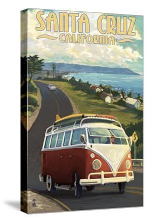 Santa Cruz, California - VW Van-Lantern Press-Stretched Canvas Print
